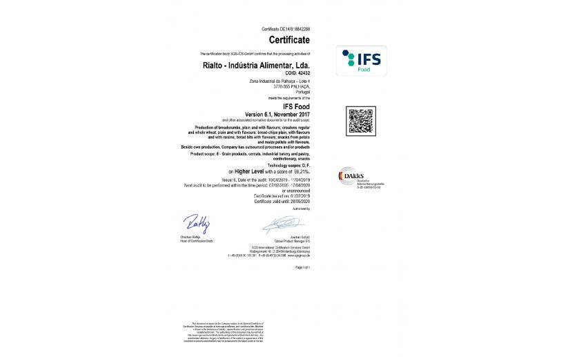 IFS certificate 2019