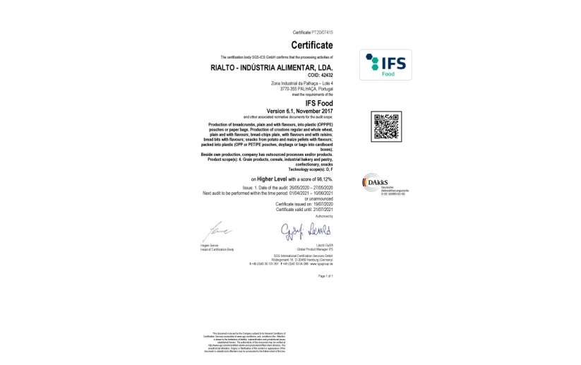 Certificado IFS Food 2020