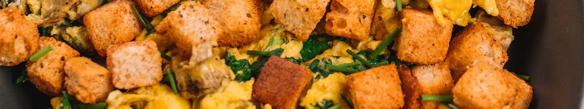 Creamy Scrambled Eggs with Croutons